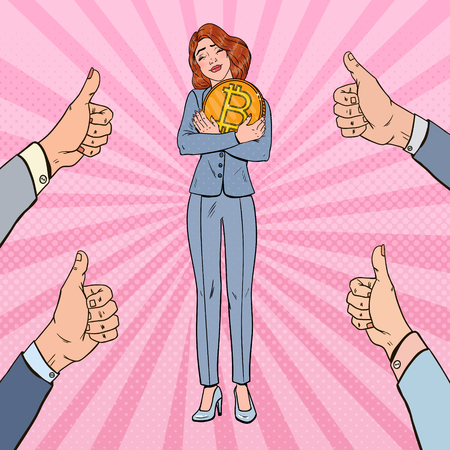Pop art happy business woman holding big bitcoin coin. Crypto-currency network technology.