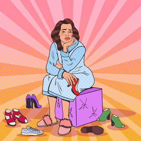 Pop art upset pretty woman choosing shoes in wardrobe. Female fashion clothing.