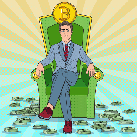 Pop Art Successful Businessman Sitting on Throne with Bitcoin and Money Stacks. Crypto currency Market Concept. Vector illustration