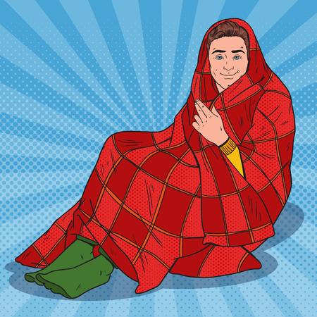 暖かい毛布に覆われたポップアートマン.自宅で寒さを感じる。ベクトル図