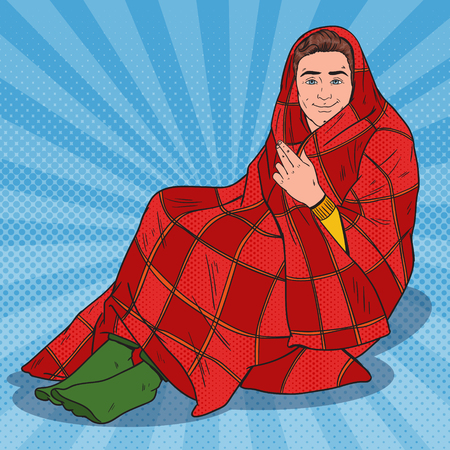 Pop Art Man Covered in Warm Blanket.Feeling Cold at Home. Vector illustration Vectores