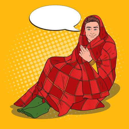 Pop Art Man Covered in Warm Blanket.Feeling Cold at Home. Vector illustration Illustration