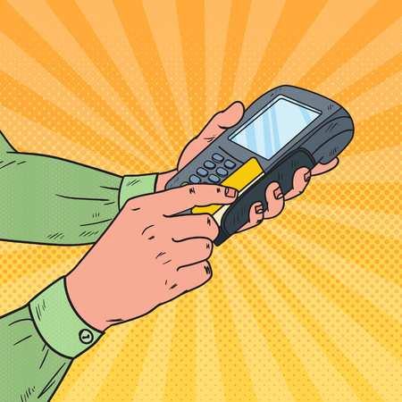 Pop Art Male Hands Swiping Credit Card with Bank Terminal. Payment with POS in Store. Vector illustration