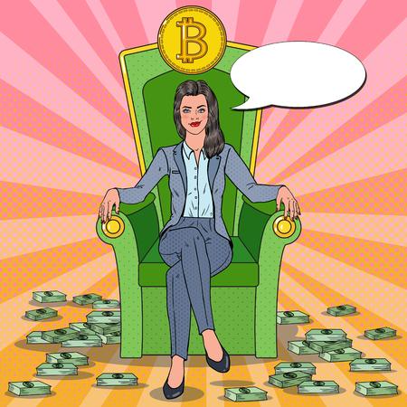 팝 아트 성공적인 비즈니스 여자 Bitcoin와 돈을 스택과 왕좌에 앉아. 암호화 통화 시장 개념. 벡터 일러스트 레이 션
