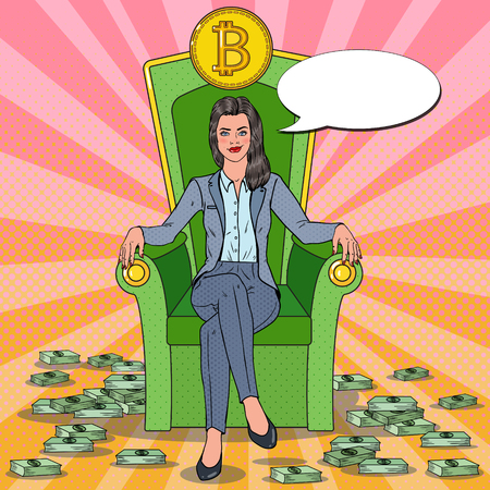 Pop Art Successful Business Woman Sitting on Throne with Bitcoin and Money Stacks. Crypto currency Market Concept. Vector illustration