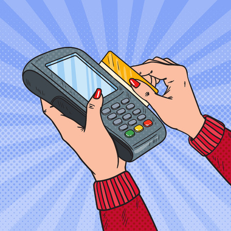 Pop Art Female Hands Swiping Credit Card with Bank Terminal. Payment with POS in Store. Vector illustration 일러스트