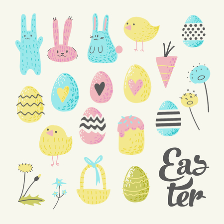 Happy Easter Elements Set with Eggs, Bunny, Chicks and Flowers. Spring Childish Design for Holiday Decoration Greeting Cards. Vector illustration