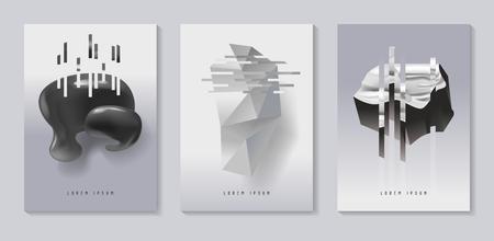 ポスター、グリッチ効果とバウハウス流体形状のカバー。プラカード、バナー、チラシのための抽象的な未来的なヒップスターデザインセット。ベ  イラスト・ベクター素材
