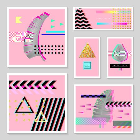 글리치 미래 포스터, 열 대 요소와 설정 커버.