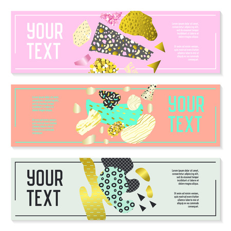 Horizontal Banners Set with Gold Glitter Geometric Elements. Poster Invitation Voucher Brochure Templates. Abstract Cards Design. Vector illustration