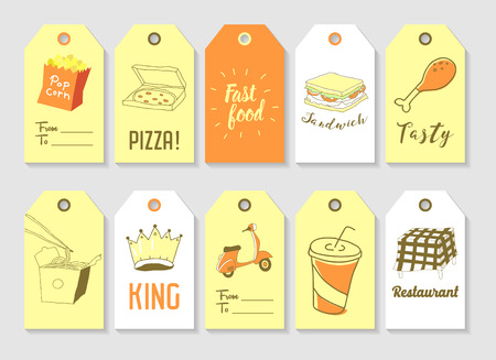 Fast Food Hand Drawn Tags Collection. Vintage Style Freehand Elements with Sandwich, Pop Corn and Pizza.