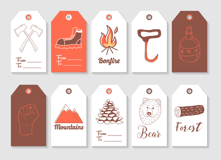Lumberjack Hand Drawn Tags Collection. Vintage Style Freehand Elements Axe, Hipster, Woodcutter. Vector illustration