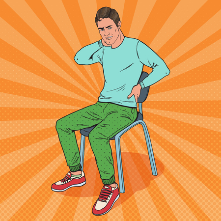 Pop Art Man Suffering from Back and Neck Pain Sitting on the Chair. Guy Feeling Unwell. Vector illustration