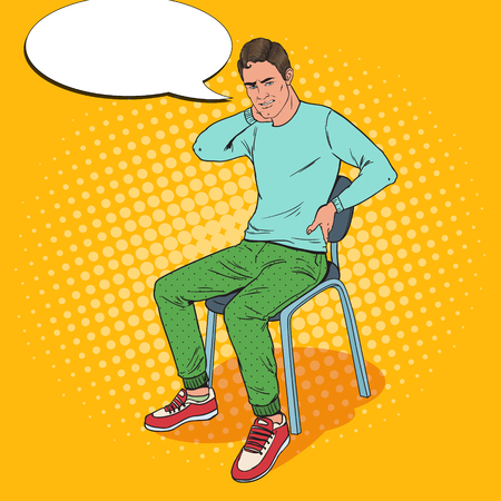 Pop Art Man Suffering from Backache and Neck Pain Sitting on the Chair. Guy Feeling Unwell. Vector illustration Illustration
