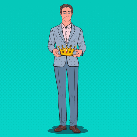 Pop Art Man Holding Golden Crown. Firts Place Prize, Coronation Ceremony. Vector illustration 向量圖像