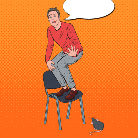 Pop Art Screaming Man Scared by the Mice. Guy Afraid of Rat. Vector illustration