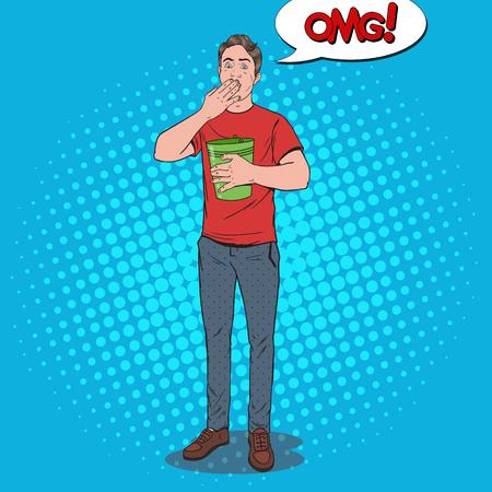Pop Art Vomiting Man. Sick Guy Having Stomach Pain. Unhealthy Feeling. Vector illustration Stock Vector - 96681652