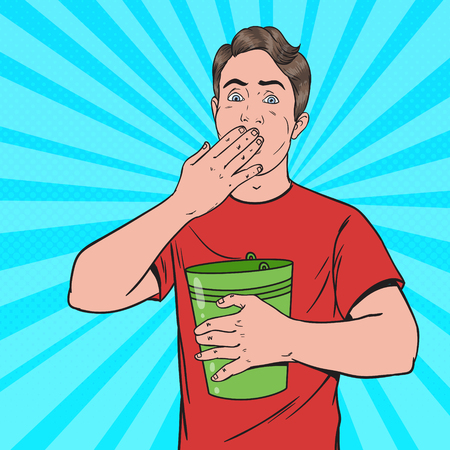 Pop Art Vomiting Man. Sick Guy Throw Up. Unhealthy Feeling. Vector illustration