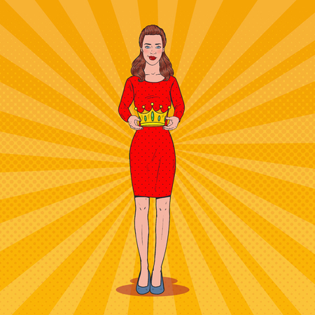 Pop Art Beautiful Woman Holding a Crown. Coronation Victory Ceremony. Vector illustration Banco de Imagens - 96681603