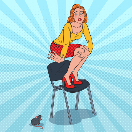 Pop Art Unhappy Young Woman Scared by the Mouse. Female Phobia of Rodent. Vector illustration