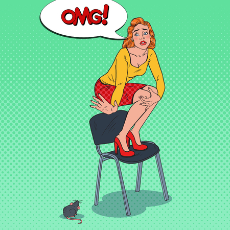 Pop Art Worried Young Woman Scared by the Mouse. Female Phobia of Rodent. Vector illustration