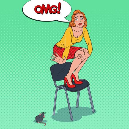 Pop Art inquiet jeune femme effrayée par la souris. Phobie féminine des rongeurs. Illustration vectorielle
