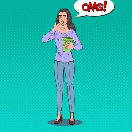 Pop Art Sick Woman Throw Up. Unhealthy Feeling Girl. Panic Attack, Stomach Ache. Vector illustration