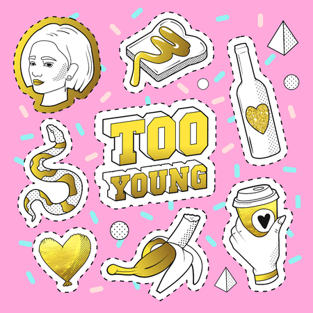 Teenager Fashion 80s-90s Golden Badges, Patches with Snake, Banana, Hand and Girl. Comic Style Isolated Stickers and Pins.