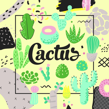 Floral Design with Cactuses. Succulents Childish Style Background for Decor, Covers. Vector illustration Ilustrace
