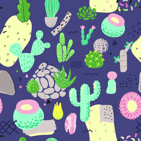 Floral Seamless Pattern with Cactuses. Succulents Childish Style Background for Fabric, Decor, Wallpaper. Vector illustration