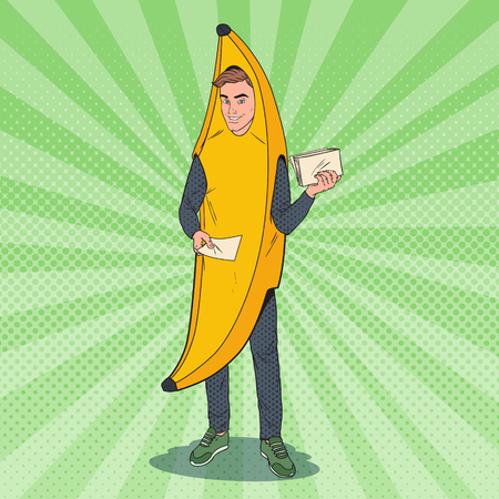 Pop Art Young Male Promoter with Advertising Flyers. Man in Banana Costume.