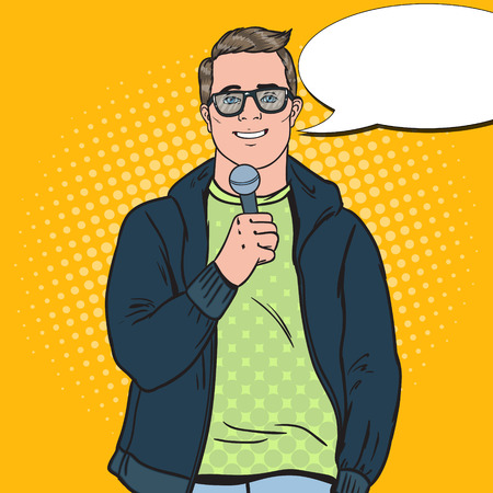 Pop Art Handsome Man with Microphone. Male TV Reporter. Vector illustration