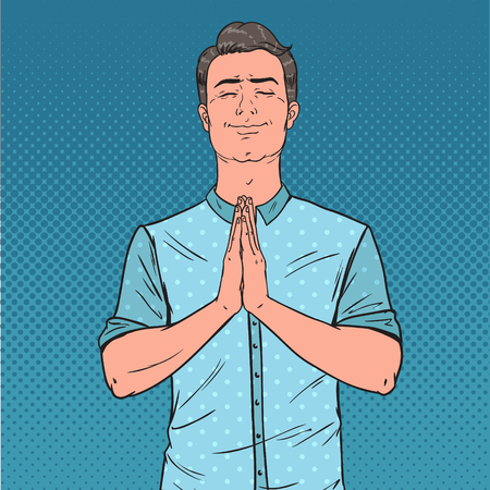 Pop Art Young Man Praying with Smile. Happy Male Prayer. Vector illustration