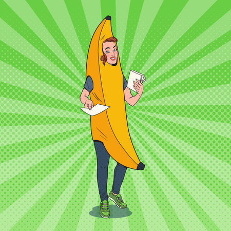 Pop Art Young Female Promoter with Advertising Flyers. Woman in Banana Costume. Teenage Cheerful Girl Promoting Something. Vector illustration