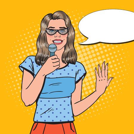 Pop Art Pretty Woman with Microphone. Female TV Reporter. Speaker on Presentation. Vector illustration Vector Illustration