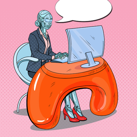 Pop Art Futuristic Robotic Woman Working with Computer. Artificial Intelligence Technology. Illustration