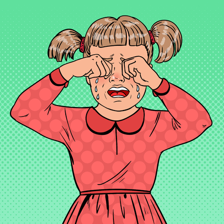 Pop Art Unhappy Little Girl Crying with Tears. Sad Child Facial Expression. Tearful Kid. Vector illustration