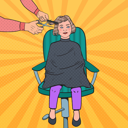 Pop Art Young Girl Getting a Haircut. Kid in Barber Shop. Hairdresser Cutting Child Hair. Vector illustration Vectores