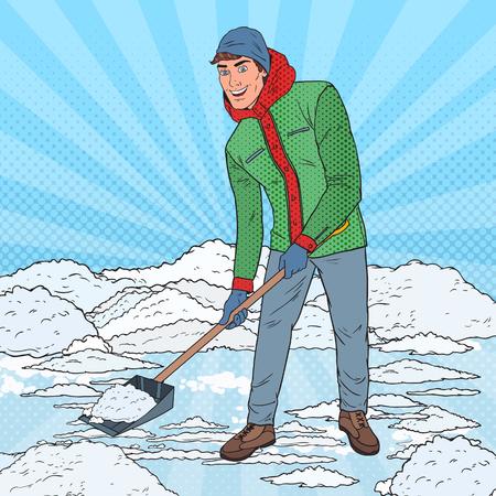Pop Art Man Clearing Snow with Shovel. Winter Snowfall. Vector illustration
