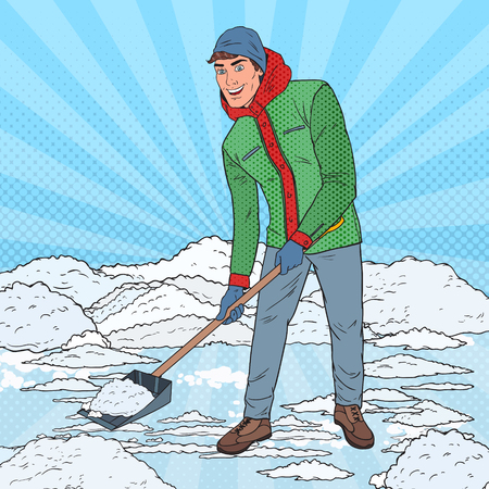 Pop Art Man sneeuwruimen met schop. Winter sneeuwval. Vector illustratie