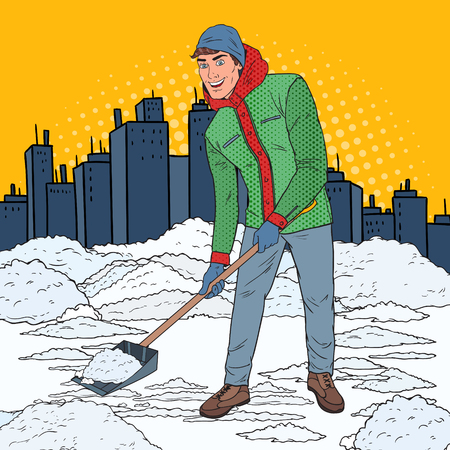 Pop Art Man Clearing Snow with Shovel. Winter Snowfall in the City. Vector illustration 일러스트