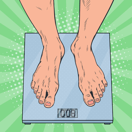 Pop Art Male Feet on Weighing Scales. Man Measuring Body Weight. Vector illustration