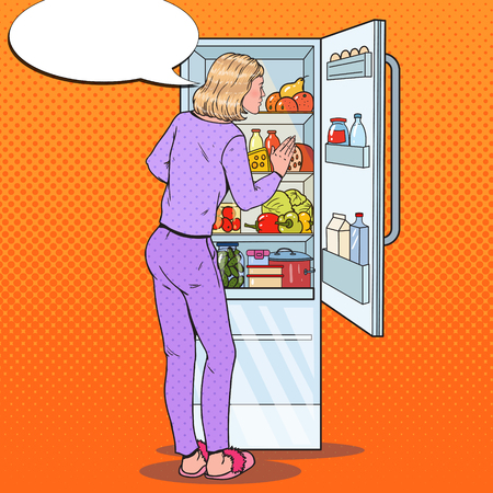 Pop Art Woman Choosing Food from the Fridge. Healthy Eating, Dieting Concept. Vector illustration