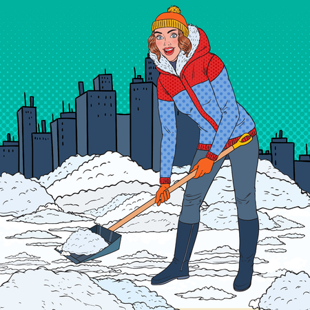 Pop Art Pretty Woman Clearing Snow with Shovel. Winter Snowfall in the City. Vector illustration