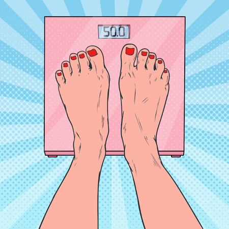 Pop Art Female Feet on Weighing Scales. Woman Measuring Body Weight. Vector illustration Ilustracja