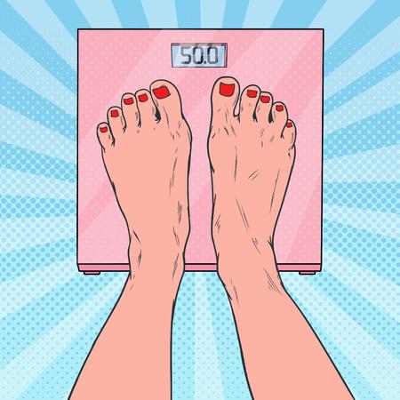 Popart vrouwelijke voeten op weegschalen. Vrouw die lichaamsgewicht meet. Vector illustratie