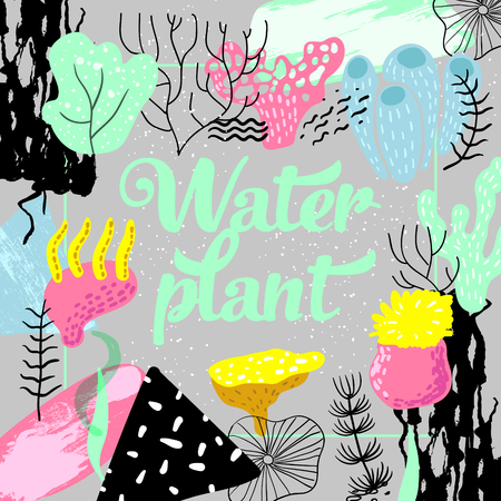 Underwater Design in Childish Style. Kids Background with Seaweeds, Corals and Abstract Elements for Covers. Illustration