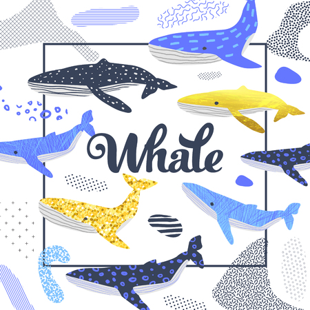 Cute Whales Design. Childish Marine Background with Abstract Elements. Baby Freehand Doodle for Covers, Decor. Vector illustration