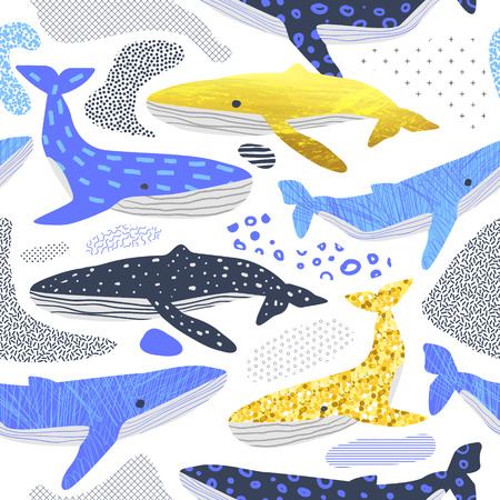Cute Whales Seamless Pattern. Childish Marine Background with Abstract Elements. Baby Freehand Doodle for Fabric Textile, Wallpaper, Wrapping. Vector illustration