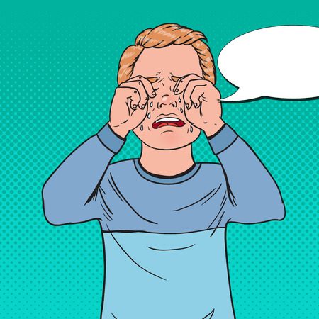 Pop Art Upset Little Boy Crying. Sad Child Cry with Tears. Screaming Kid Facial Expression. Vector illustration